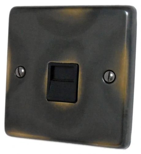 G&H CAN34B Standard Plate Polished Aged Brass 1 Gang Slave BT Telephone Socket